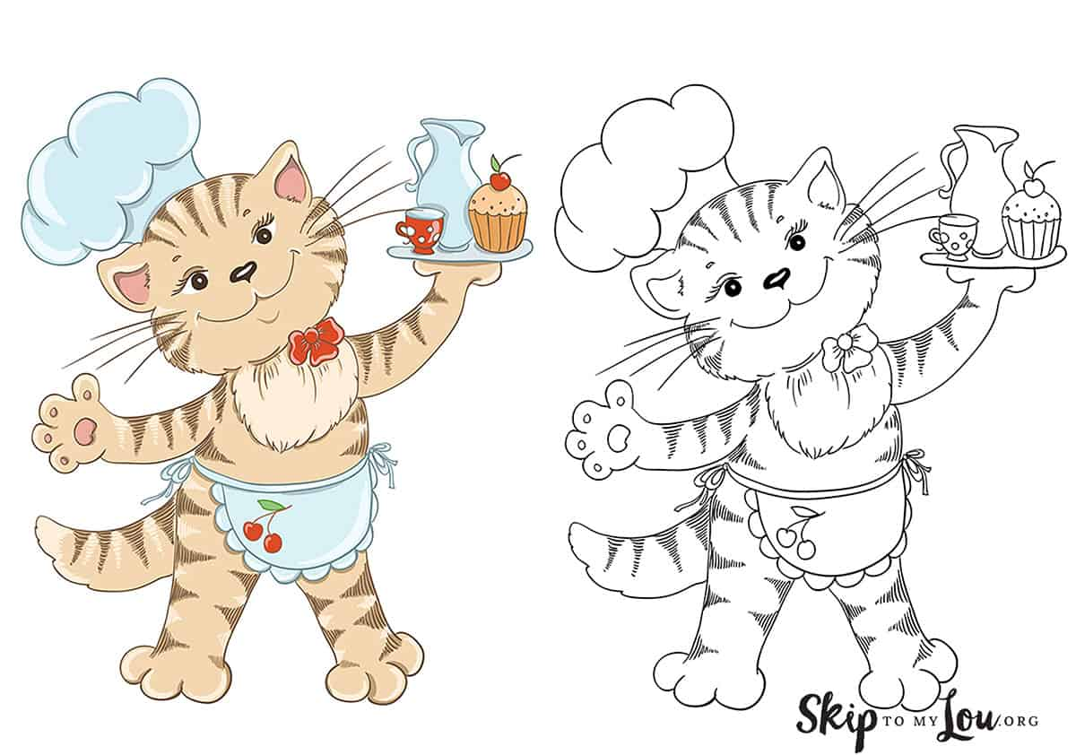 colored baking cat coloring page along side not colored page