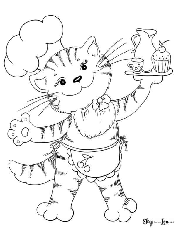 cat wearing chef hat and apron holding plate of cupcakes