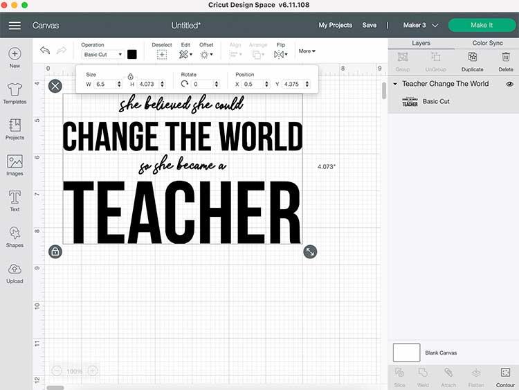 change file size in cricut design space