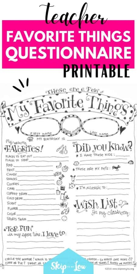 teacher favorite things printable PIN