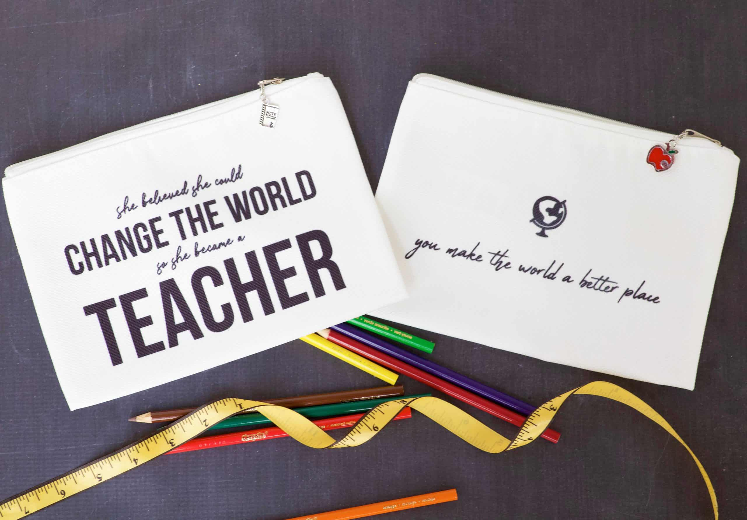 cricut cosmetic bags with cute sayings for teacher gifts