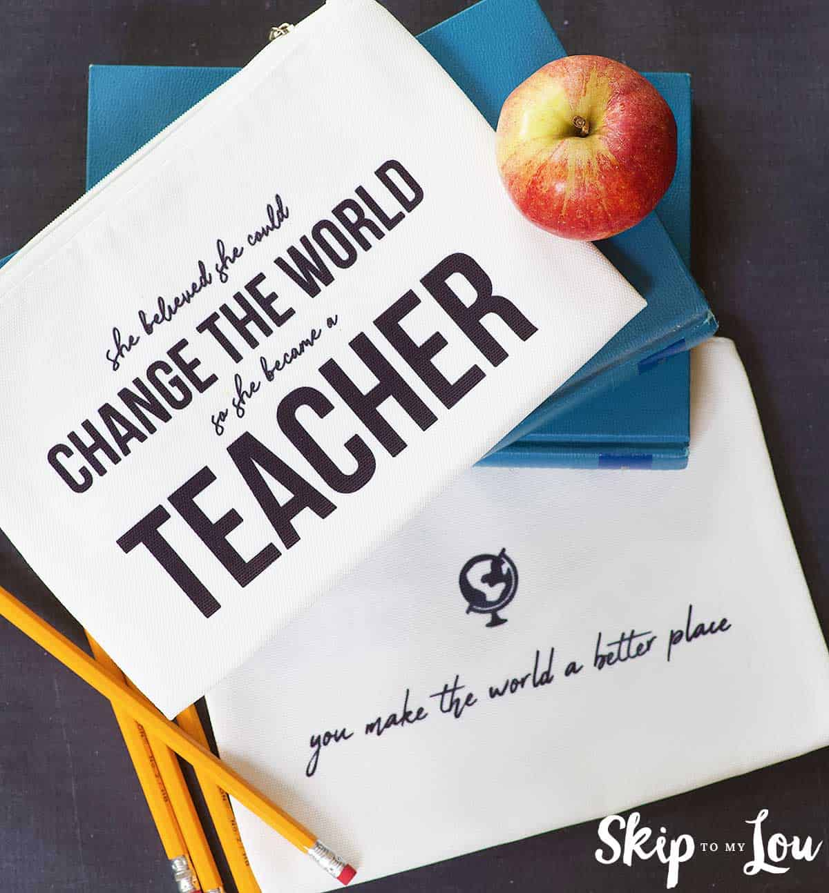 zippered pouches with sayings for teacher gifts