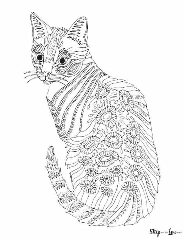 detailed cat with turned head coloring page