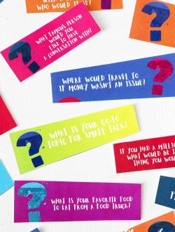 colorful 21 questions game cards