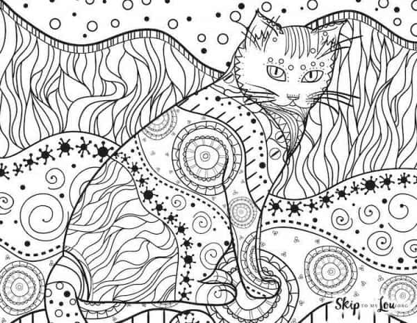 Patterned Cat Coloring Page