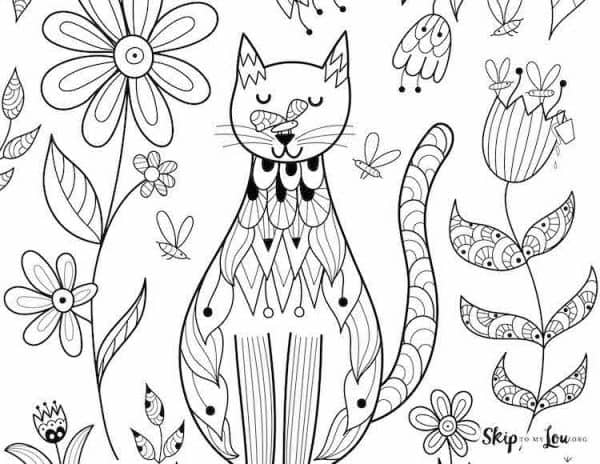 Sitting Cat with Flowers