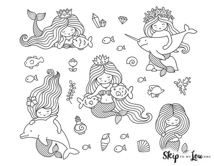 cute mermaids coloring page