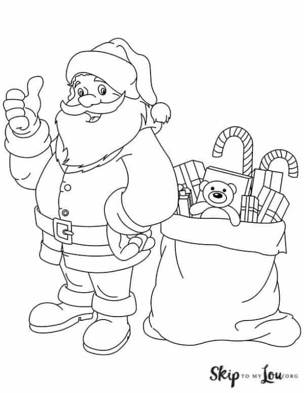 Santa with bag full of toys coloring sheet