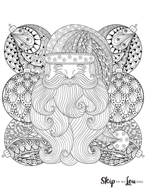 detailed santa with ornaments coloring page