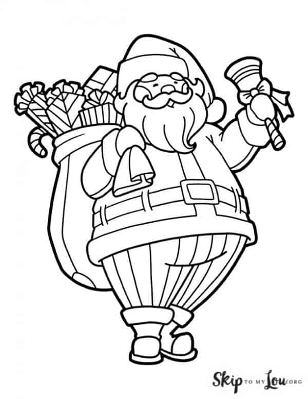 Santa Waving a Bell holding a bag of toys coloring page