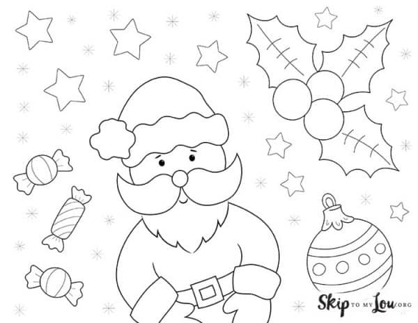 Santa Claus with candy holly and christmas ornament coloring page