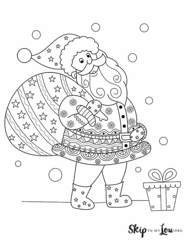 detailed santa with bag coloring page