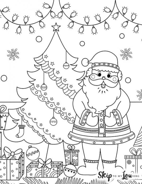 santa with christmas tree  lights and presents coloring page