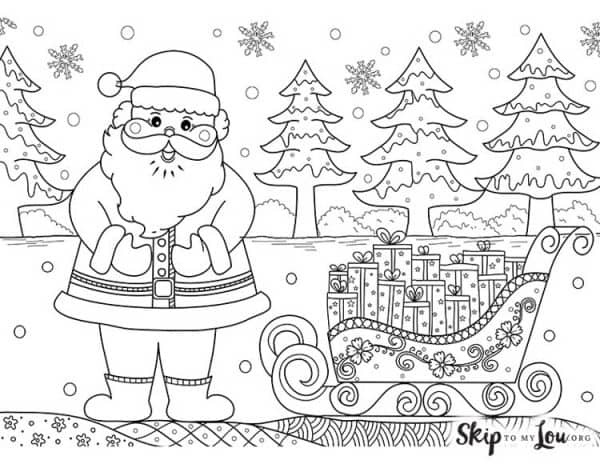 santa with sleigh coloring page