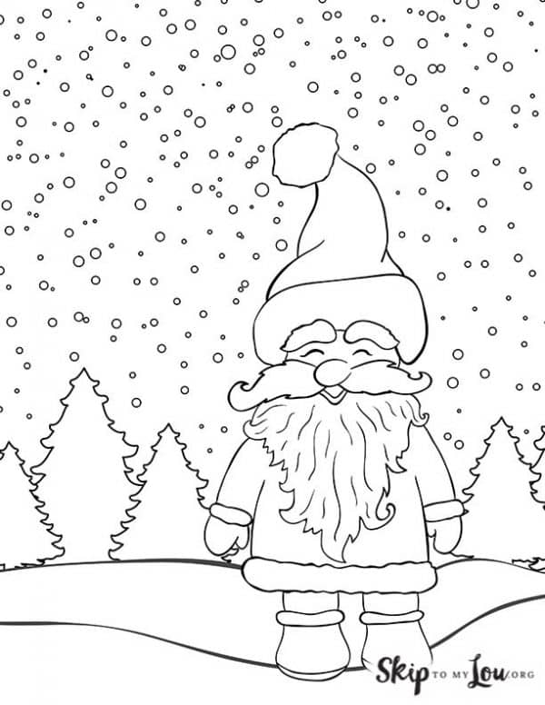 Santa Claus standing in the snow coloring sheet
