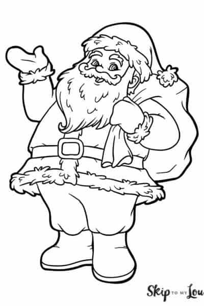 waving santa coloring page