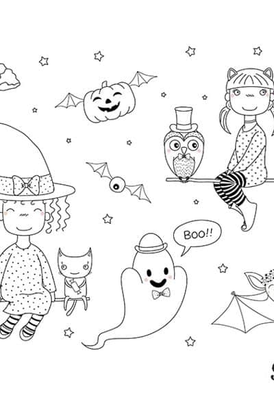 witches flying on brooms with flying bats pumpkins and ghosts