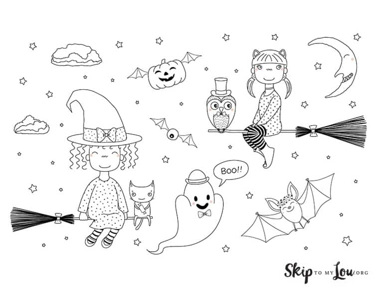 witch coloring page flying witches on brooms with flying bats pumpkins and ghosts in the background