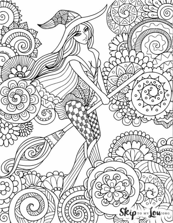 detailed fancy witch with lots of patterns to color on a broom