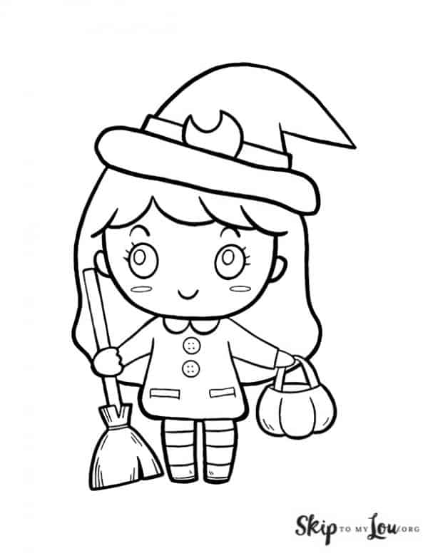 cute with holding broom and pumkin basket