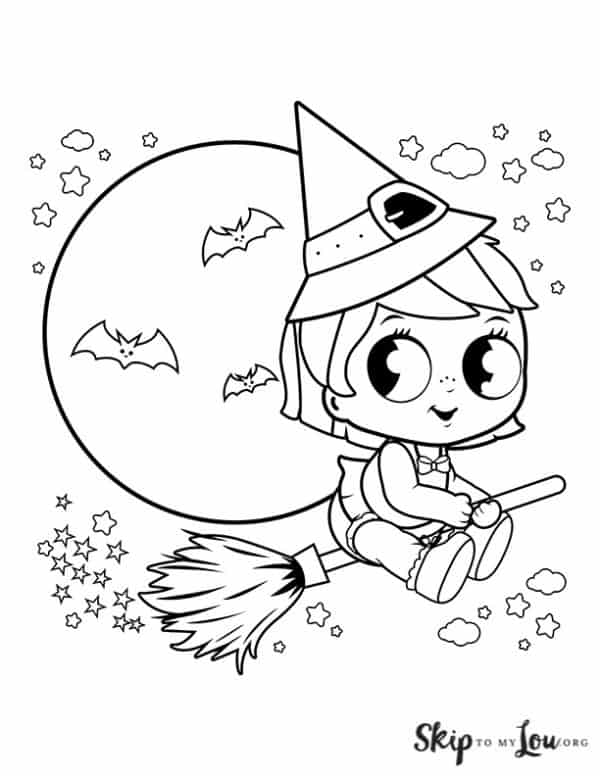 young cute witch with big eyes
