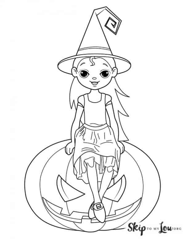 witch sitting on a pumpkin