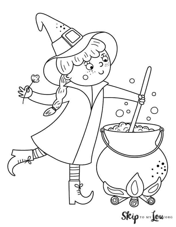 witch stirring a potion in a cauldron