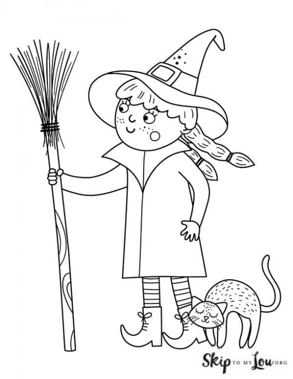 witch holding a broom
