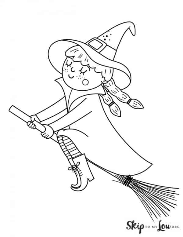 cute witch flying on a broom with her eyes closed