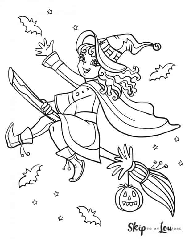 happy witch flying on a broom