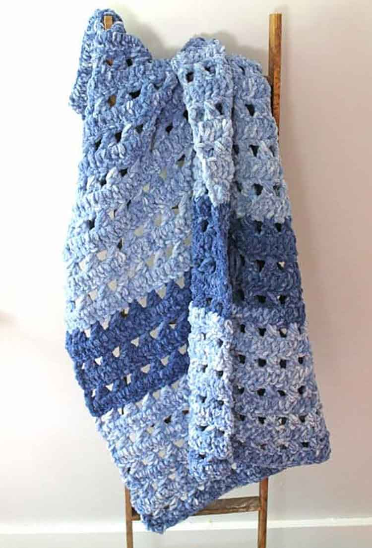 blue stripe blanket made from chenille yarn