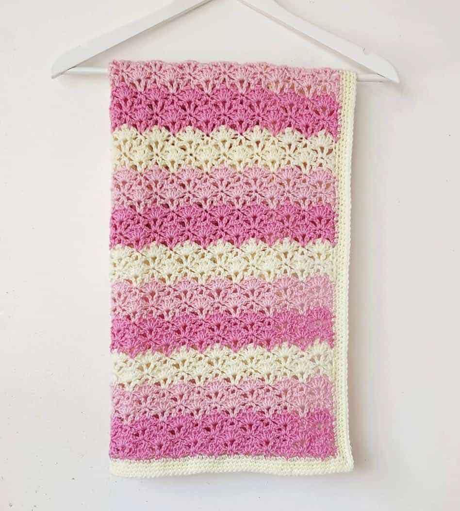pink ombre crochet baby blanket