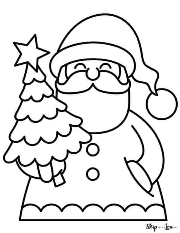 simple santa with christmas tree coloring page