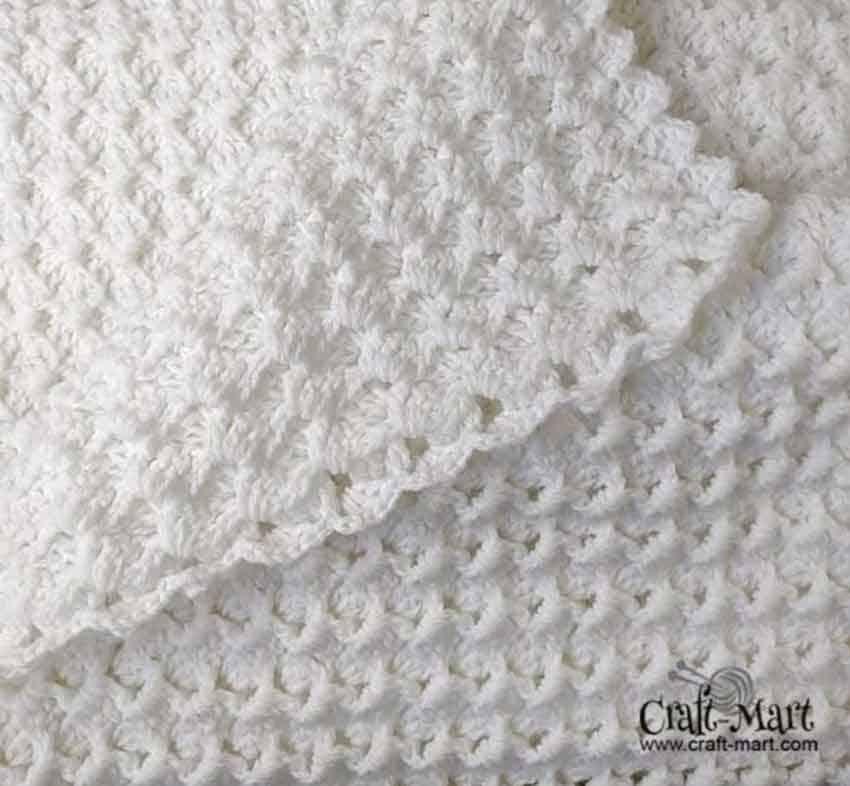white crochet baby blanket pattern