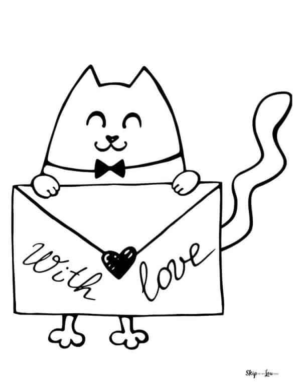 cat holding an envelope