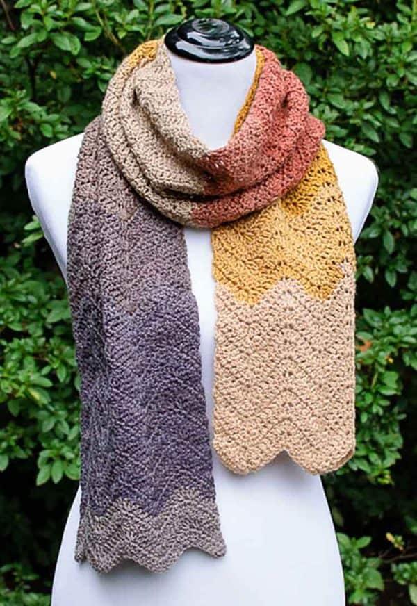 crochet ripple scarf