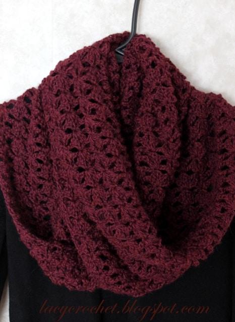 burgundy lacy infinity scarf