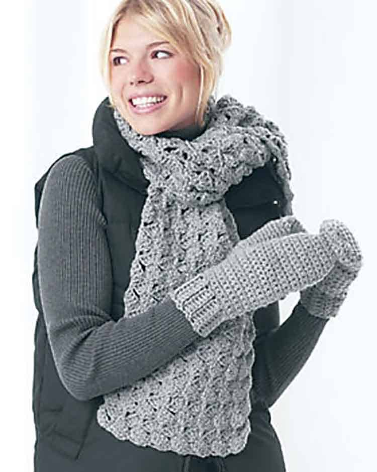 matching scarf and mittens crochet pattern
